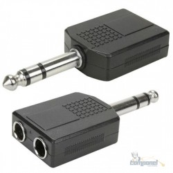 Adaptador P10 stereo (macho) x 2 J10stereo (Femea) PVC